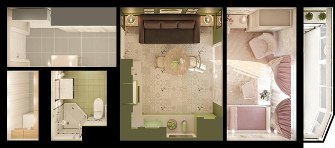 Оформление двухкомнатной квартиры площадью 44 кв м