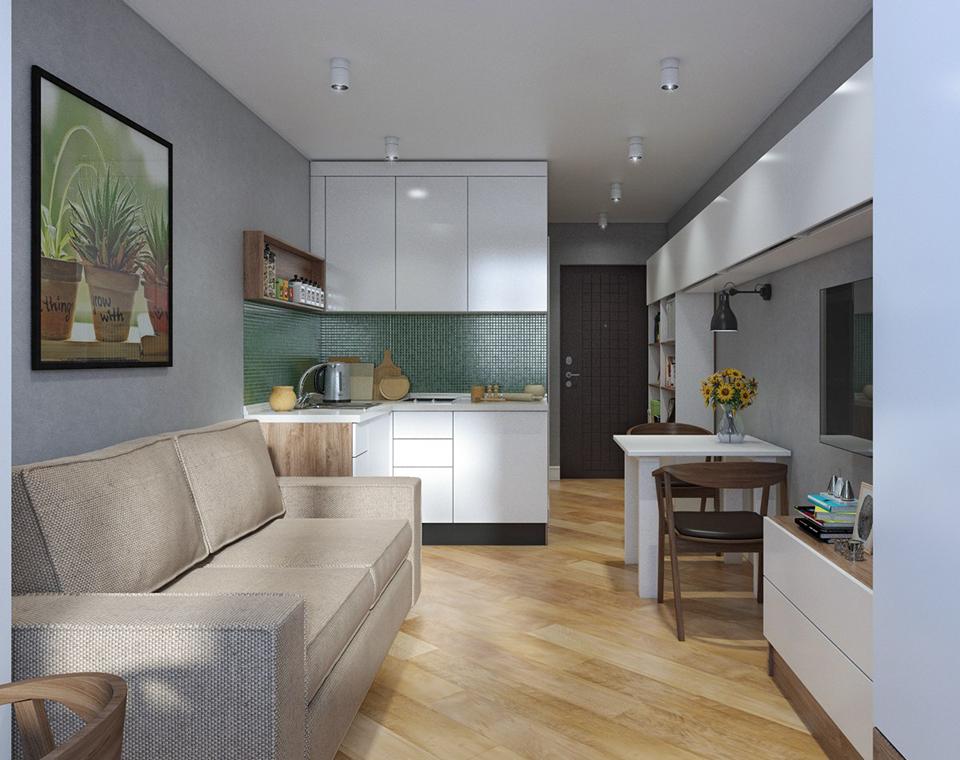 Дизайн квартиры-студии прямоугольной планировки.
