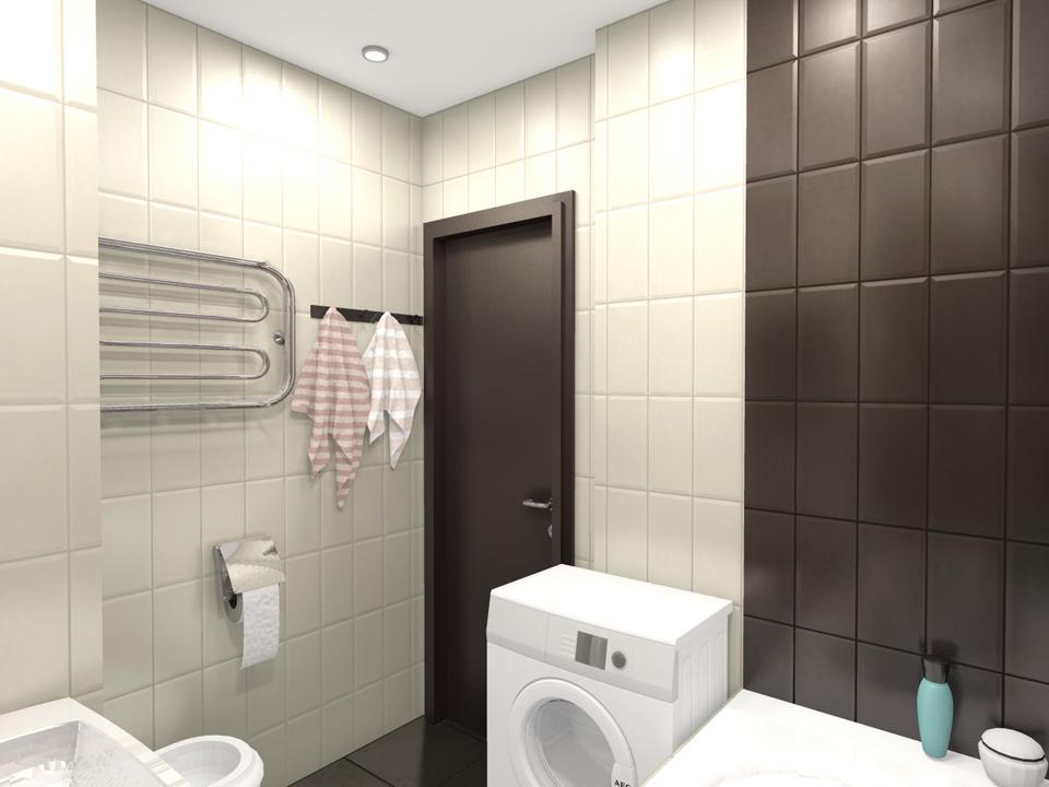 3D проект студии 26 м с зонированием комнаты шкафом