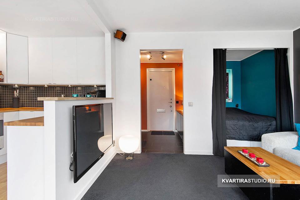 Дизайн однокомнатной квартиры-студии 35 кв.м фото