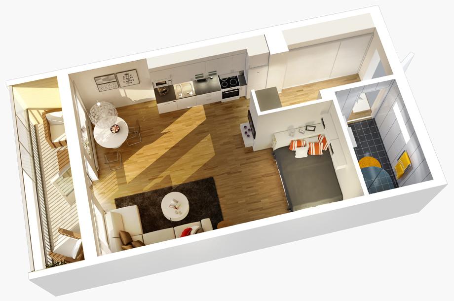 3D дизайн квартиры-студии от