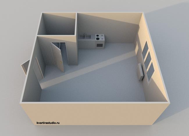 Квадратная планировка квартиры-студии