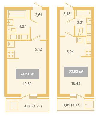 Планировка квартир-студий Санкт-Петербург, ул Мебельная, ЖК Геометрия
